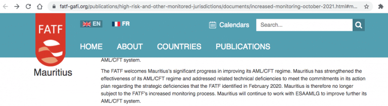 FATF removed Mauritius from grey list